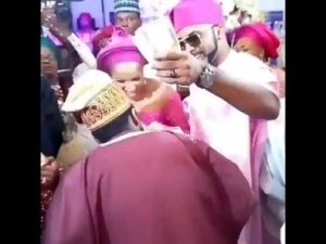 Video: Banky W Sprays Money At Actor Gabriel Afolayan